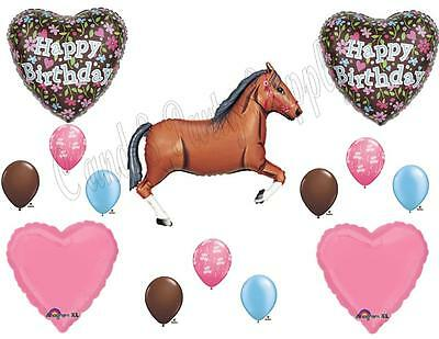 BROWN HORSE FLORAL Birthday Party Balloons Decoration Supplies Cowgirl Western