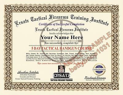 Tactical Firearms Training Certificate  Novelty  W Your Name   Date  Gun Diploma