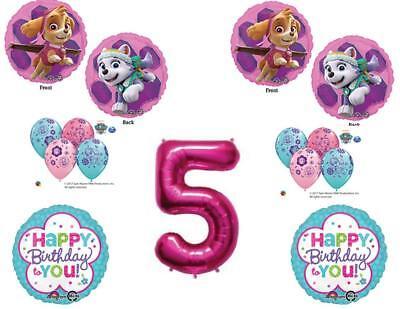 5th Birthday Skye & Everest Paw Patrol Girl Balloons Decorat