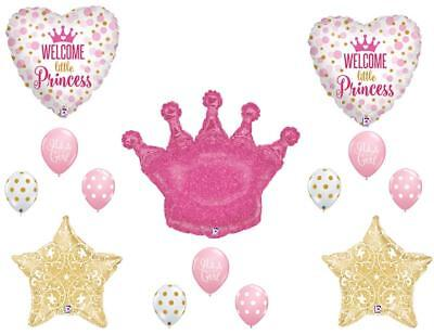Little Princess Baby Shower Decorations (Welcome Little Princess Crown Balloons Decoration Supplies Girl Baby)
