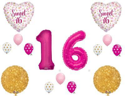 Sweet 16 Pink & Gold Polka Dots Birthday Party Balloons Decoration Supplies