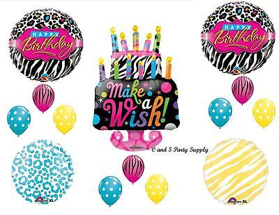 ZEBRA & CHEETAH CAKE HAPPY BIRTHDAY PARTY BALLOONS Decorations Supplies - Happy 16th Birthday Balloons