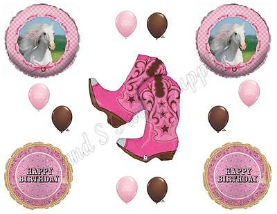 Pink Cowgirl Party Supplies (Heart My Horse & Pink Cowgirl Boots Happy Birthday Party Balloons)