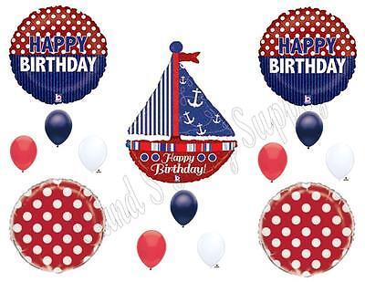 NAUTICAL SAILBOAT Ahoy Birthday Party Balloons Decoration Supplies Ocean Yacht - Sailboat Birthday Party