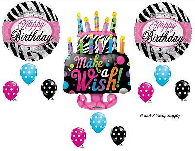 ZEBRA WISH CAKE HAPPY BIRTHDAY PARTY BALLOONS Decorations Supplies 16TH - Happy 16th Birthday Balloons