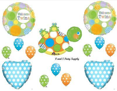 WELCOME TWINS FROGS BABY SHOWER BALLOONS Decorations Supplies Turtle Boy Dots - Twin Balloons Baby Showers