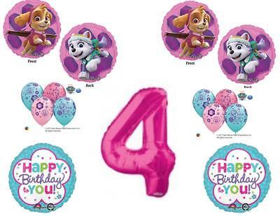 4th Birthday Skye & Everest Paw Patrol Girl Balloons Decorat