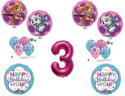 3rd Birthday Skye & Everest Paw Patrol Girl Balloons Decorat