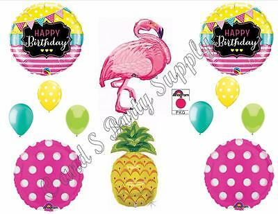 PINK FLAMINGO & PINEAPPLE Happy Birthday Party Balloons Decorations Supplies - Pink Flamingo Decorations Supplies