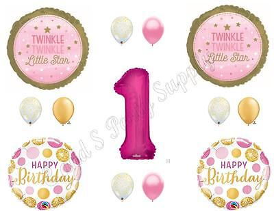 Twinkle Twinkle Little Star Party Decorations (TWINKLE TWINKLE LITTLE STAR Girl 1st Birthday Party Balloons Decorations)