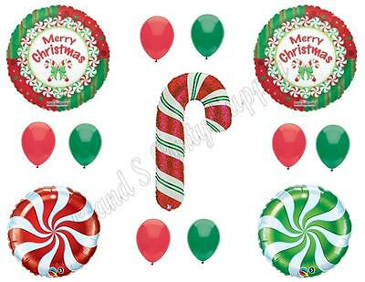 CHRISTMAS CANDY CANE Balloons party Decoration Supplies Santa Cookie - Candy Cane Balloons