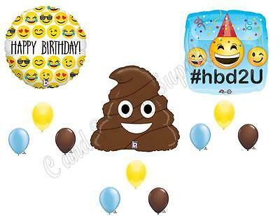 EMOJI EMOTICON POO Happy Birthday Party Balloons Decoration Supplies Turd Smiley