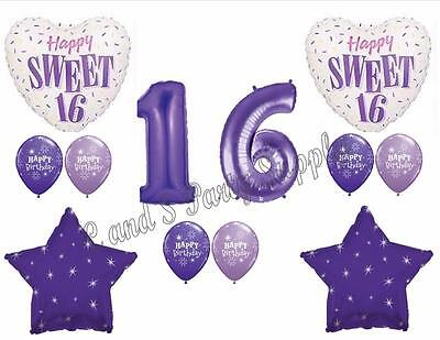 PURPLE 16TH Sixteenth Birthday Party Balloons Decoration Supplies Sweet Girl - Sweet 16 Purple Decorations