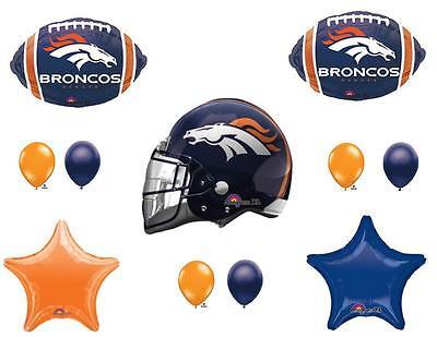 11 pc DENVER BRONCOS SUPER BOWL 2016 Balloons Decoration Supplies Party Football ()