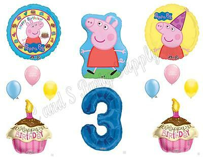 Peppa Pig Cupcake Decorations (PEPPA PIG 3rd Third Blue Happy Birthday Party Balloons Decoration Cake)