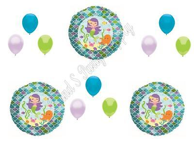 12 PC MERMAID Birthday Party Balloons Decoration Supplies Girl Luau Beach - Beach Birthday Party Supplies
