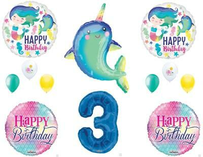 Narwhal and Mermaid 3rd Birthday Party Balloons Decoration Supplies Ocean Whale - Whale Party Supplies