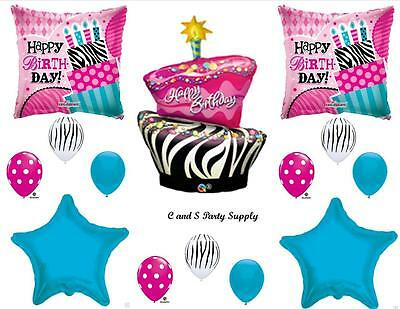 ZEBRA & POLKA DOTS CAKE HAPPY BIRTHDAY PARTY BALLOONS Decorations Supplies - Happy 16th Birthday Balloons