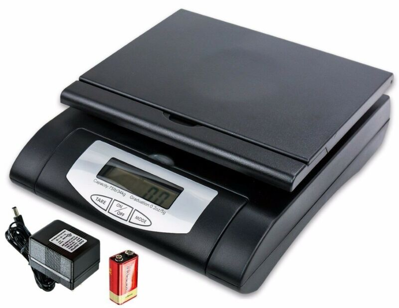 Heavy Duty 75lbs Black Digital Shipping Postal Scale With AC/Battery