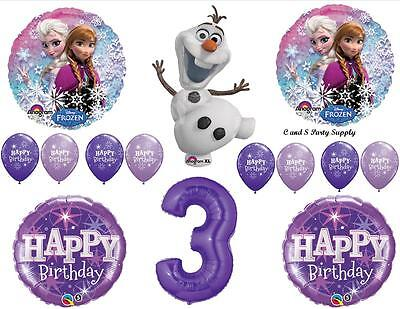 FROZEN OLAF PURPLE 3rd HAPPY BIRTHDAY PARTY BALLOONS Decorations Supplies Snow ()