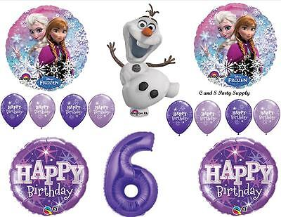 FROZEN OLAF PURPLE 6th HAPPY BIRTHDAY PARTY BALLOONS Decorations Supplies Snow ()