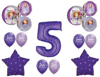 Sofia The First Birthday Decorations (Awesome! SOFIA THE FIRST 5th Birthday party Balloons Decoration Supplies)