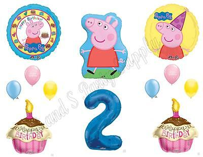 Peppa Pig Cupcake Decorations (PEPPA PIG 2ND Second Happy Birthday Party Balloons Decoration Cake)