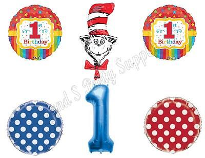 1st CAT IN THE HAT Dr. Seuss Birthday Party Balloons Decoration Supplies First (Dr Seuss Party Supplies 1st Birthday)