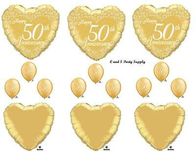 50th Wedding Anniversary Balloons (50TH GOLDEN ANNIVERSARY Balloons Birthday party Decoration Supplies Wedding)