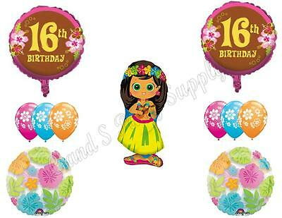 16TH BIRTHDAY Sweet Sixteen Luau party Balloons Decoration Supplies Hula Girl
