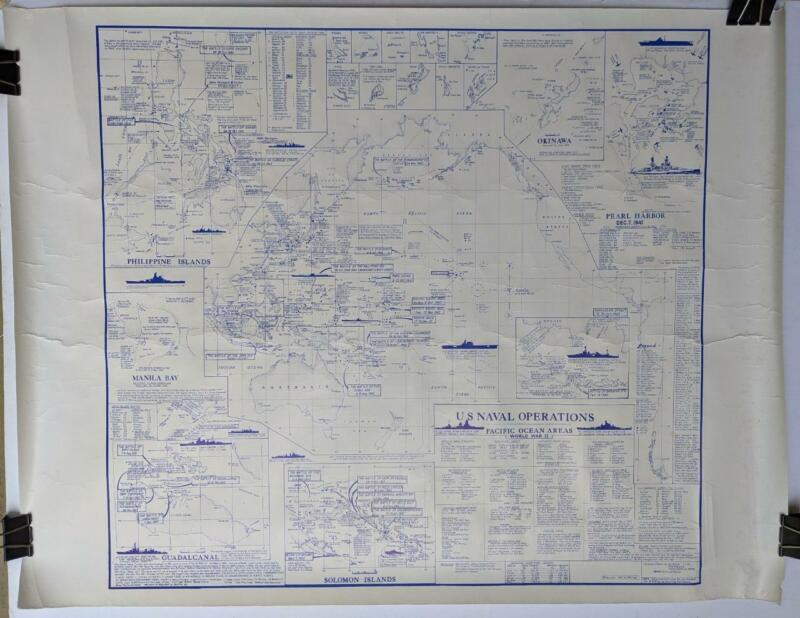 VINTAGE WWII MAP US NAVAL OPERATIONS PACIFIC OCEAN AREA PEARL HARBOR GUADALCANAL
