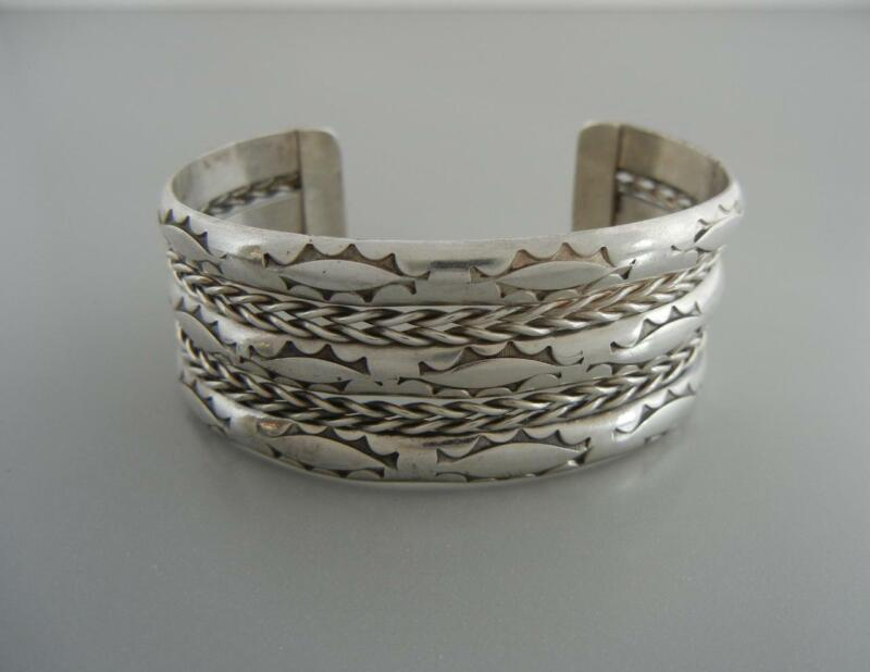 "Vintage Navajo Cuff Bracelet Sterling Silver 5 Row Twisted Wire 1"" Wide"