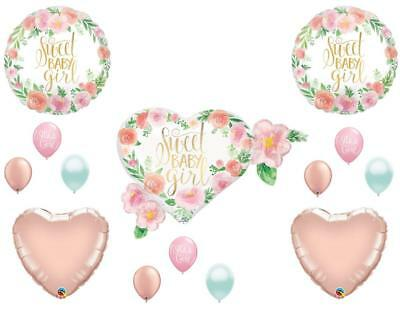 Sweet Baby Girl Floral Shower Balloons Boho Rose Gold Tribal Shabby Chic](Shabby Chic Party Supplies)