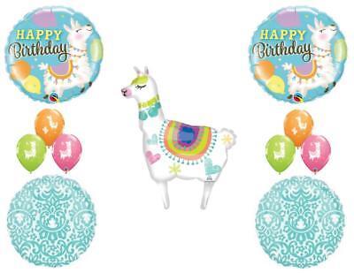 Llama Tapestry Happy Birthday party Balloons Decoration Supplies Aqua (Aqua Party Supplies)