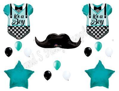 Aqua BABY BOY MUSTACHE BODYSUIT shower Balloons Decoration Supplies (Aqua Party Supplies)