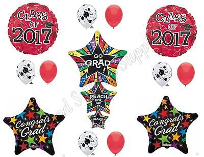 RED REACH FOR STARS CLASS OF 2017 Graduation Party Balloons Decoration - Balloon Decorations For Graduation