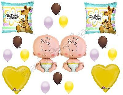 TWINS KANGAROOS BABY SHOWER Balloons Decoration Supplies It's a boy girl Newborn - Twin Balloons Baby Showers