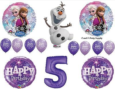 FROZEN OLAF PURPLE 5th HAPPY BIRTHDAY PARTY BALLOONS Decorations Supplies Snow ()