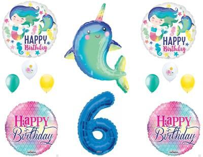 Narwhal and Mermaid 6th Birthday Party Balloons Decoration Supplies Ocean Whale - Whale Party Supplies