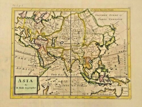 RARE ANTIQUE MAP OF ASIA SHOWING CHINA, ETC. 1695-1711. COLORIZED. FRAMEABLE.