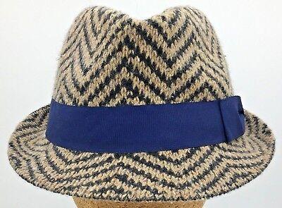Scala Chevron Pattern Knit Wool Blend Fedora Trilby Hat