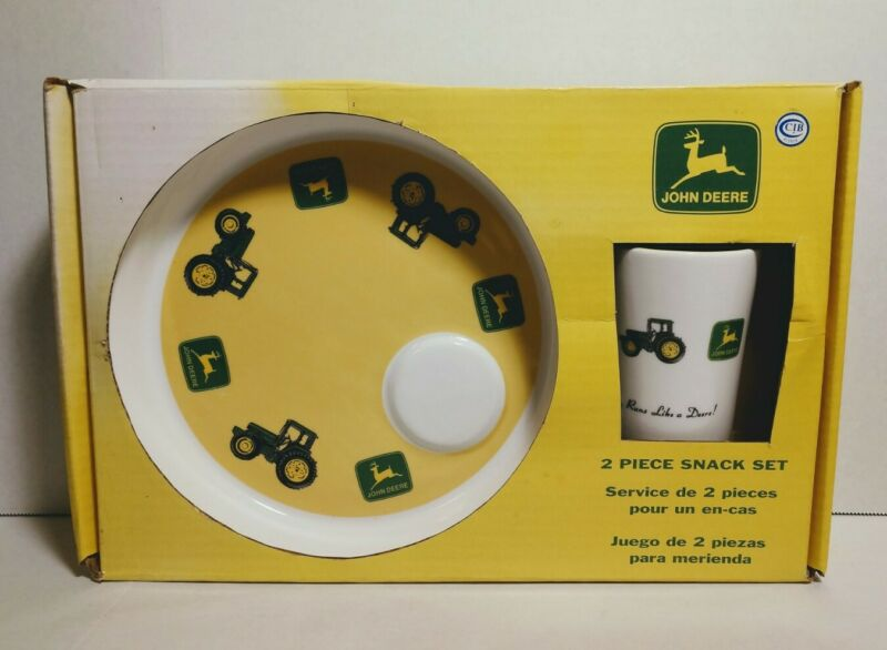 Gibson John Deere Tractor 2 Piece Snack Set Plate and 16 oz Mug