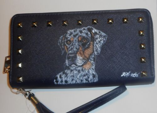 Catahoula Leopard dog Portrait Navy Wallet for Women Hand Painted Vegan