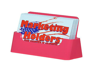 10 Plastic Business Card Holders Pink Counter Display Stand