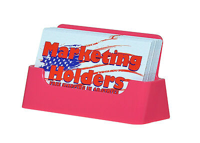 Qty 5 Pink Plastic Business Card Holder Display Stand