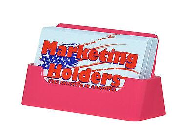 Pink Plastic Business Card Holder Display Stand Desk