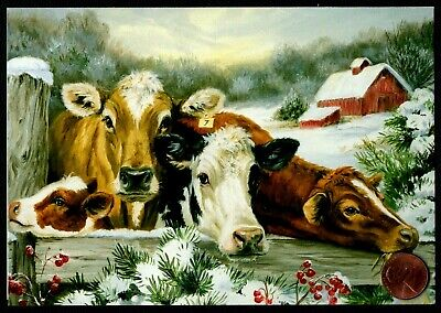 Christmas Cows Baby Farm Fence Snow Trees Berries - Christmas Greeting Card NEW ()