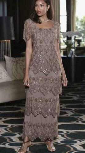 Midnight Velvet Brown Beaded Formal Evening Cocktail Party Gown Dress S L XL 2X
