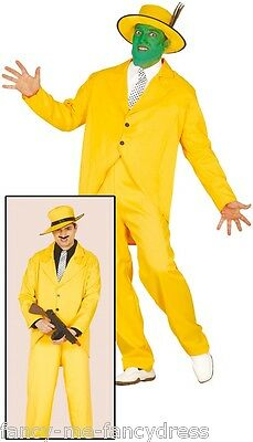 Mens Yellow 1920s Gangster The Mask Halloween Fancy Dress Costume Outfit Large - 1920s Mens Halloween Costumes