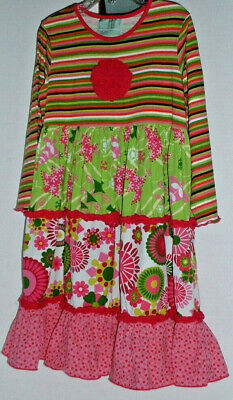 Sage and Lilly Boutique Holiday Print Skirt Striped Bodice Dress Rosette 5Y Bodice Print Skirt